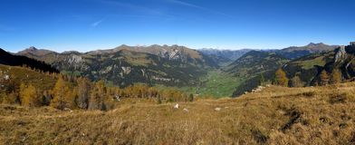 Panoramic view of the Saanenland Stock Photos