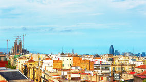 Panoramic view on Sagrada Familia under construction in Barcelon Stock Photos