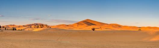 Panoramic view of Sahara Desert. Merzouga, Morocco Stock Photos