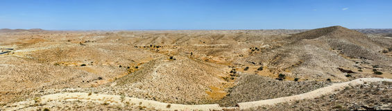 Panoramic view of Sahara desert in southern Tunisia Royalty Free Stock Photos