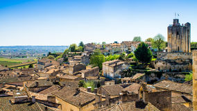 Panoramic view of Saint-Emilion near Bordeaux, France Royalty Free Stock Image