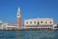 Panoramic view of Saint Marks square in Venice, Italy. Royalty Free Stock Images