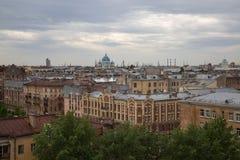 Panoramic view saint Petersburg cityscape evening Royalty Free Stock Photos