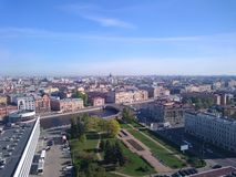 Panoramic view of Saint Petersburg, drone photo, summer day stock photography