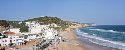 Panoramic view from Salema in Portugal. Panoramic view from Salema in the Algarve in Portugal Stock Photography