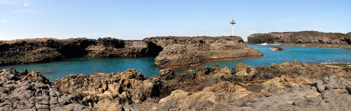 Panoramic view of Salinas. With its bay and natural volcanic arch on the island of Fogo, part of the archipelago of Cabo Verde Royalty Free Stock Photography