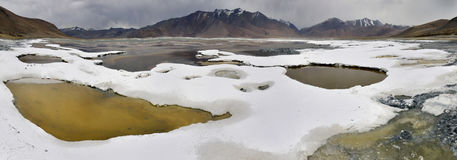 Panoramic view of the salt lake of Tso Kar: white crusts of rock salt near the shore of the lake, small puddles of greenish water Stock Image