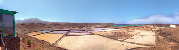 Panoramic view on salt pans Royalty Free Stock Images
