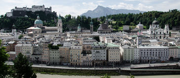 Panoramic View of Salzburg, Austria. Panoramic View of the historical center of Salzburg, Austria stock photos