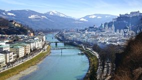 Panoramic view of the Salzburg. Austria Stock Photos