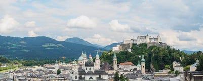 Panoramic view of Salzburg castle (Festung Hohensalzburg), Austr Stock Photos