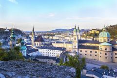 Aerial panoramic view ofhistoric city of Salzburg including Mirabell palace, Salzburg cathedral and many churches. Stock Photo