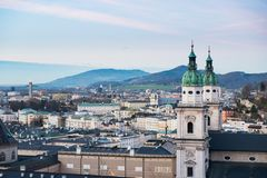 Panoramic view from Salzburg Fortress at sunset Austria Stock Photo