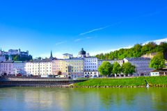 Panoramic view of Salzburg skyline with river Salzach, Salzburger Land, Austria Royalty Free Stock Photography