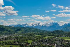 Panoramic view of Salzburg and surroundings, Austria stock photography