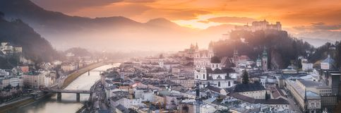 Panoramic view of Salzburg at winter morning. Sunrise, Austria Royalty Free Stock Images