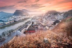 Panoramic view of Salzburg at winter morning Royalty Free Stock Photography