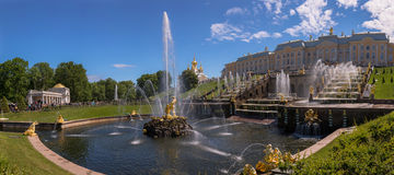Panoramic view of Samson fountain in Petergof in summer Royalty Free Stock Image