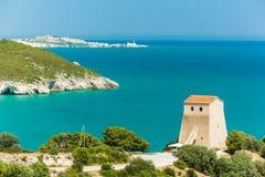 Panoramic view of San Felice Bay; Apulia, Italy. Apulia coast: panoramic view of tower at San Felice Bay; Italy Royalty Free Stock Photography
