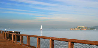 Panoramic view on San francisco bay and Alcatraz. Royalty Free Stock Image