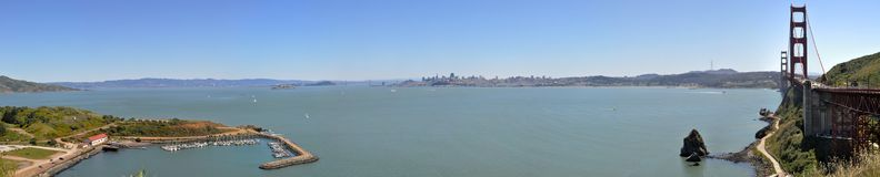 Panoramic View of San Francisco Bay since Vista Point royalty free stock images