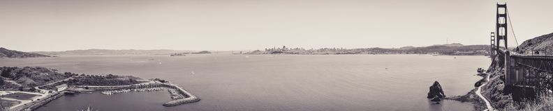 Panoramic View of San Francisco Bay since Vista Point royalty free stock photo