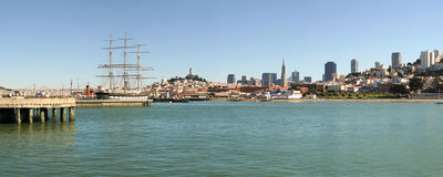 Panoramic view on San Francisco downtown. Royalty Free Stock Images