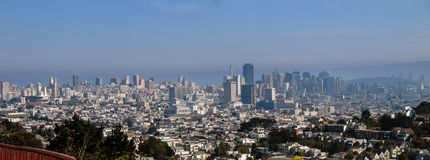 Panoramic view of San Francisco Downtown seen from Twin Peaks Stock Photo