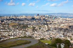 Panoramic view of San Francisco from Twin Peaks park Royalty Free Stock Photo