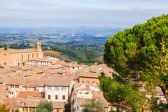 Panoramic view from San Gimignano, Tuscany, Italy Royalty Free Stock Photography