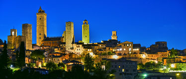 Panoramic view of San Gimignano in Tuscany, Italy. By night. UNESCO World Heritage Site Stock Image