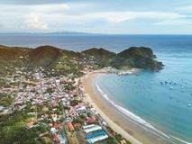 Panoramic view of san juan del sur town. From above Royalty Free Stock Photography