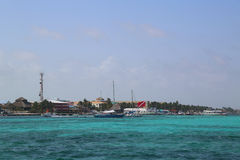 Panoramic view of San Pedro waterfront at the Ambergris Caye in Belize Royalty Free Stock Image