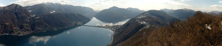 Panoramic view from San Salvatore to lake Lugano, Switzerland Stock Photos