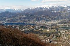Panoramic view from San Salvatore to Lugano, Switzerland Royalty Free Stock Images
