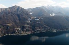 Panoramic view from San Salvatore to Lugano, Switzerland Stock Image