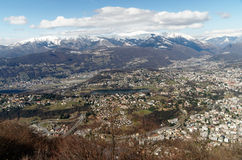 Panoramic view from San Salvatore to Lugano, Switzerland Stock Images