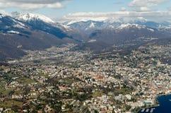 Panoramic view from San Salvatore to Lugano, Switzerland Stock Photo