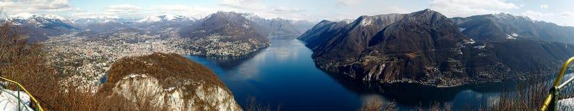 Panoramic view from San Salvatore to Lugano, Switzerland Royalty Free Stock Image