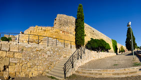 Panoramic view on sandstone wall ruins in Tarragona, Spain Royalty Free Stock Photos