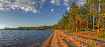 Panoramic view of the sandy beach Royalty Free Stock Photography