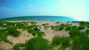 Panoramic view of the sandy beach. Full of people on a sunny day stock video footage