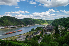 Panoramic view of Sank-Goar and Snak Goarshausen medival village Royalty Free Stock Images
