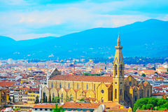 Panoramic view of Santa Croce cathedral in Florence stock image
