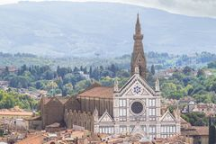 Panorama view on the Santa Croce church and old town in Florence. Panoramic view on the Santa Croce church and old town in Florence, Italy Stock Photos