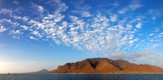 Panoramic view of Santa Luzia volcanic island, Cape Verde. Panoramic view of Santa Luzia volcanic island with beautiful evening sky, Cape Verde (Cabo Verde) Stock Images