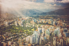 Panoramic view of Santiago de Chile. And Los Andes mountain range Royalty Free Stock Images