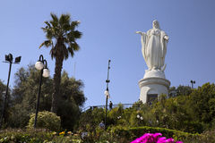 Panoramic view of Santiago de Chile with virgin Maria statue Royalty Free Stock Images