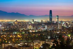 Panoramic view of Santiago de Chile at night. Panoramic view of Santiago de Chile with the wealthy Las Condes and Vitacura districts Stock Photos