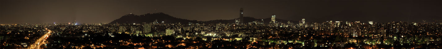 Panoramic view of Santiago at night. Royalty Free Stock Photos